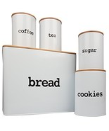 Bread Box Extra Large and 4 Piece Kitchen Canister Set w Bread Cutting B... - $37.15