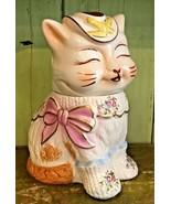 Vintage Ceramic Cookie Jar Shawnee Puss N Boots w/ Gold Trim Flowers Bir... - $119.99
