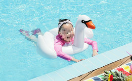 Swim About Children Kids Swan Swim Ring Tube Inflatable Ride On Pool Raft Floats image 3