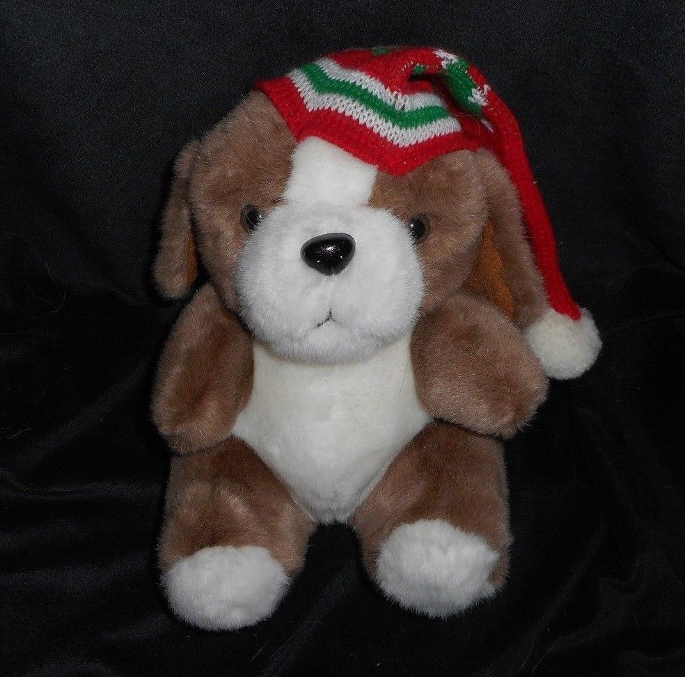 "Primary image for 10"" VINTAGE ENESCO CHRISTMAS BABY BROWN WHITE PUPPY DOG STUFFED ANIMAL PLUSH TOY"