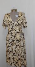 Dvf Diane Von Furstenberg Yellow Brown White Silk Wrap Dress Toby Sz 12 - $56.09