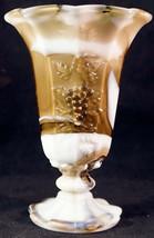 Westmoreland Olive / Brown Slag  / Marbled Glass Paneled Grape Vase - $25.99