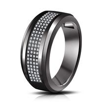 Diamond Band Pinky Ring 14k Black Gold Finish 925 Silver Mens Engagement... - $93.99