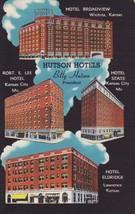 Hutson Hotels Missouri MO Kansas Vintage Postcard Linen Colourpicture - $3.34