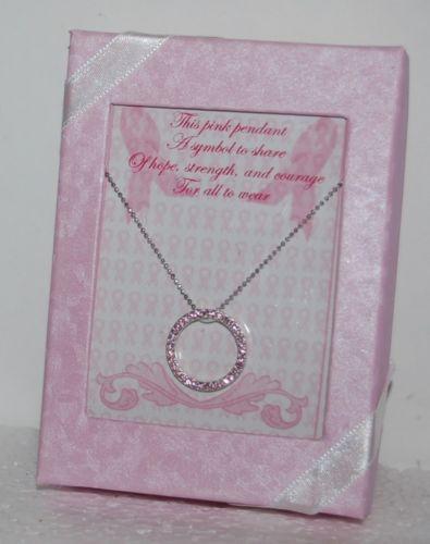 DM Merchandising BCA CIRNK Pink Rhinestone Silver Circle Necklace Gift Box
