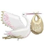 It's a GIRL STORK Balloon Shape Party Supplies Birthday Mylar Decoration... - $18.76
