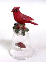 Cardinal in Snow & Holly Berries On a Clear Glass Bell w/ Seeds or Eggs ... - $9.79