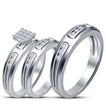 14k White Gold Finish 925 Silver White Diamond His Her Engagement Trio Ring Set - $155.99