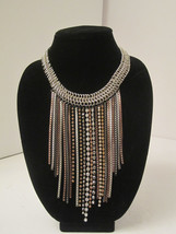 Chain Mail BLING Dangling Strands of Rhinestone Crystal Statement Neckla... - $15.00