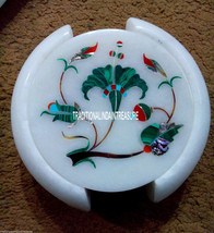 White Marble Tea Coasters Rare Malachite Floral Marquetry Inlay Home Decor Gifts - $161.30