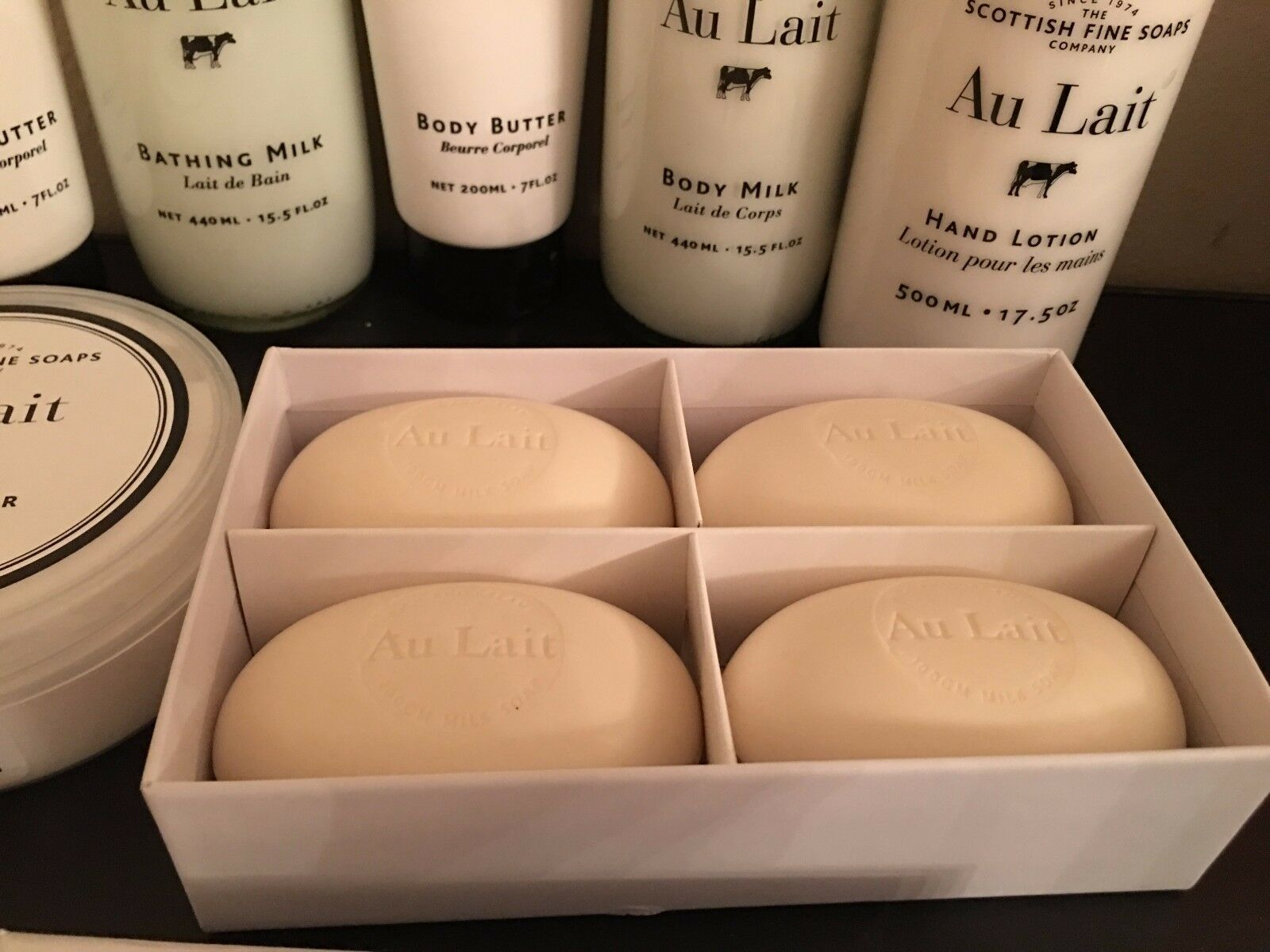 Primary image for Scottish Fine Soaps Au Lait body lotion/butter/Bathing Milk/hand lotion, new