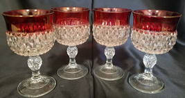 Vintage Indiana Glass Diamond Point Ruby Wine Glasses, Set of 4 (circa 1... - $22.50