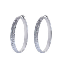 14K White Gold Diamond Cut Hoop Earrings - $612.81