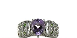 Vintage Ladies Size 8 Sterling Silver Amethyst Fashion Ring No, 2100