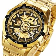 Winner Watch Men Skeleton Automatic Mechanical Watch Gold Skeleton Vinta... - $39.99