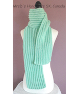 Scarf Handknit Ribbed Mint Green 64 Inch Length - $24.00
