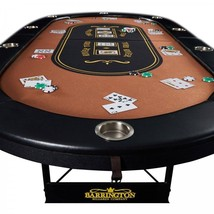 10 Player Poker Table with Comfortable Arm Rest and Inlaid Metal Cup Hol... - $222.17