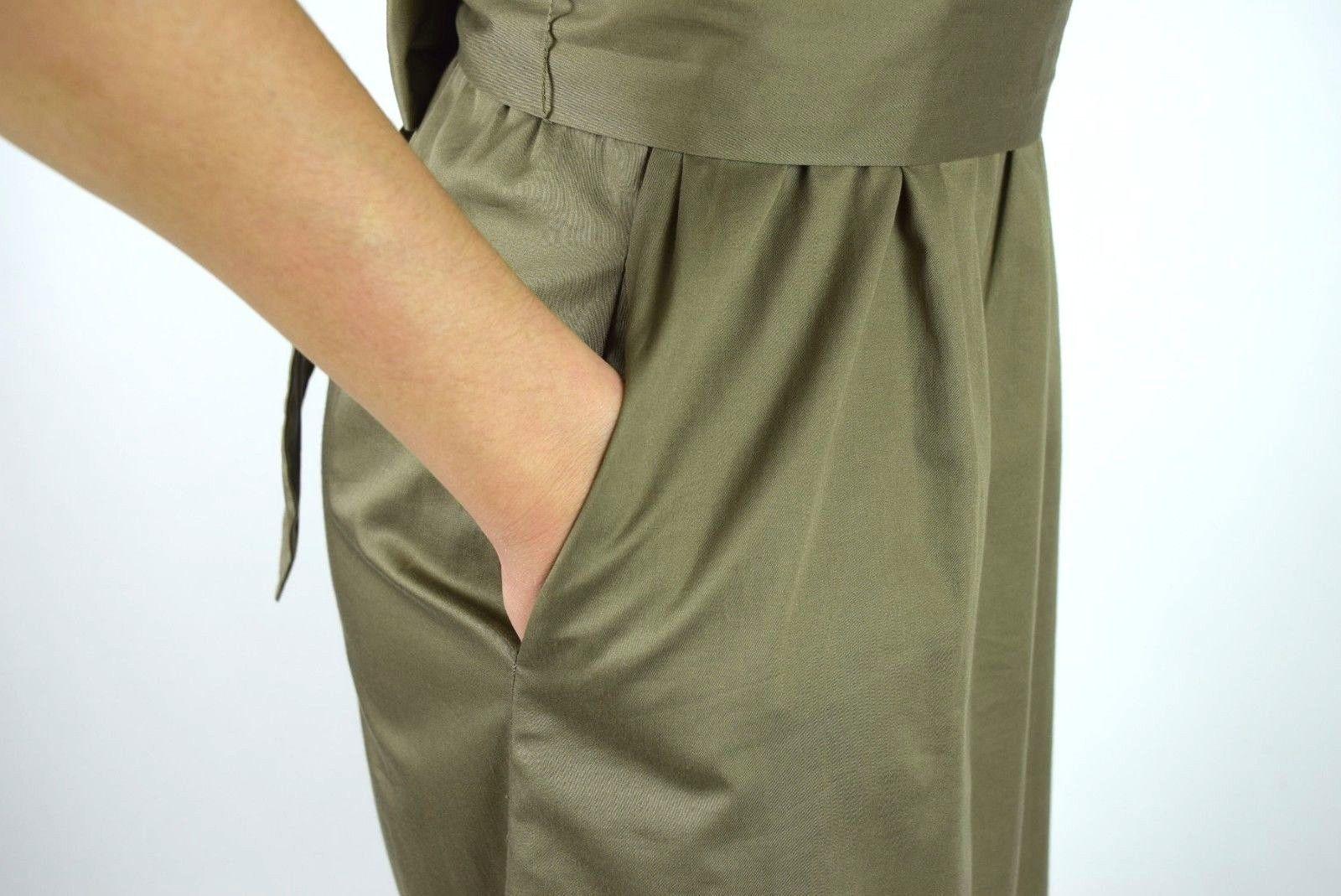 J.Crew Olive Ruffled Cotton Boat Neck Knee Length Shift Dress Sleeveless M image 8
