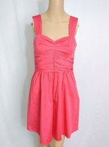 Express Sweetheart Fit & Flare Sundress SZ 4 Coral Pink Cotton Full Skir... - $9.50