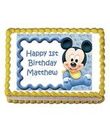 Baby Mickey Mouse Baby Shower or Birthday Edible Cake Image Cake Topper - $8.98+