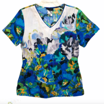 Cherokee Scrub Shirt Size Medium Blue Watercolor Floral Flowers Nurse Vet Tech - $21.99