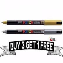 """Posca Marqueur stylo PC-1MR """" OR & argent Set """" 1 de chaque couleur 3 Get 1 - $9.90"""