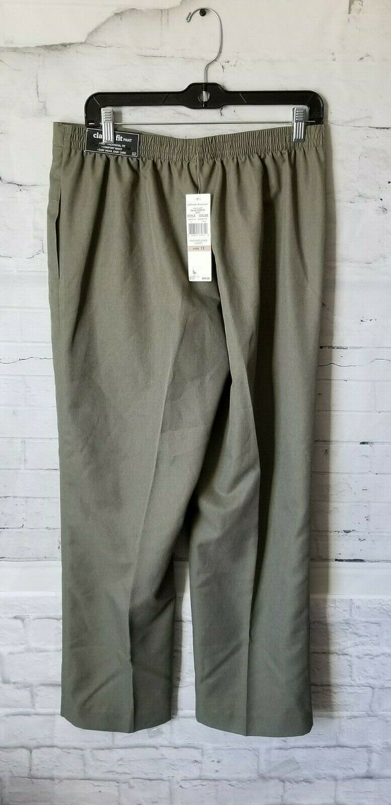 Alfred Dunner Women's Palm Dessert Green  Cactus Elastic Dress Pants sz 12 NEW