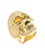 FULLY ICED OUT GOLD DIAMOND SKULL PINKY RING - £25.31 GBP
