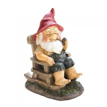 Pipe Smoking Grandpa Gnome in Rocking Chair Yard Lawn Art New - $38.99