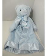 Bearington baby blue plush bear baby security blanket satin lovey - $19.79
