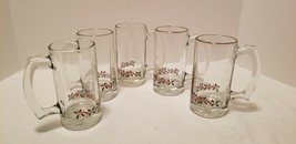 5 Libbey Arbys 1980s Christmas Holiday Holly & Ribbon Gold Beer Eggnog S... - $21.34
