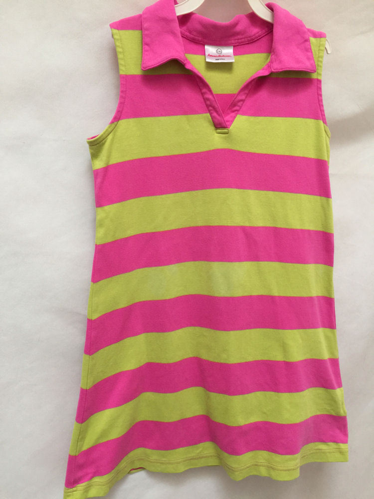 Primary image for Hanna Andersson 130 8 10 Dress Pink Green Striped Polo Sleeveless