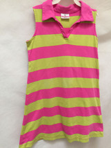 Hanna Andersson 130 8 10 Dress Pink Green Striped Polo Sleeveless - $14.67