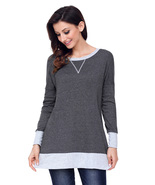 Charcoal Side Pocket Elbow Patch Colorblock Tunic  - $23.08
