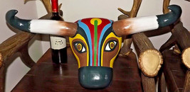 "Huge 24"" Pop Art cow head ! Oh La Vache ! Art Deco Nouveau wood wall Dis... - $220.00"