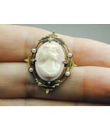 Vintage Hand Carved Angel Skin Coral Cameo Seed Pearls 2 Tone GF - $89.99