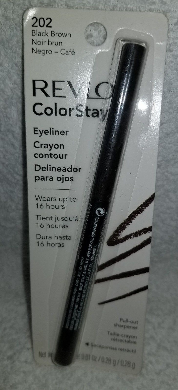 Revlon ColorStay 202 BLACK BROWN Eyeliner Softflex Pull-Out Sharpener .01 oz New