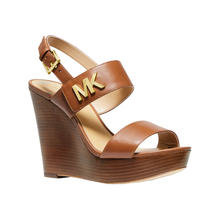Michael Kors MK Women's Heels Deanna Leather Luggage Wedge Sandals 49T9DNHA1L image 3
