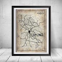 Framed The Walking Dead Terminus Map Replica Prop Gift Print Daryl Negan... - $44.98
