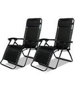 Gravity Chairs Set 2 Black Chaise Lounge Lawn Furniture Pair Adjustable ... - $155.66