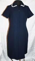 Vtg Roberta Lee An Original Womens Dress Polyester Navy Blue Tailored Collar - $33.95