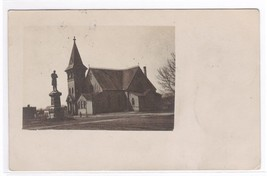 Church Soldier Monument Milbank SD 1908 RPPC postcard - $6.93