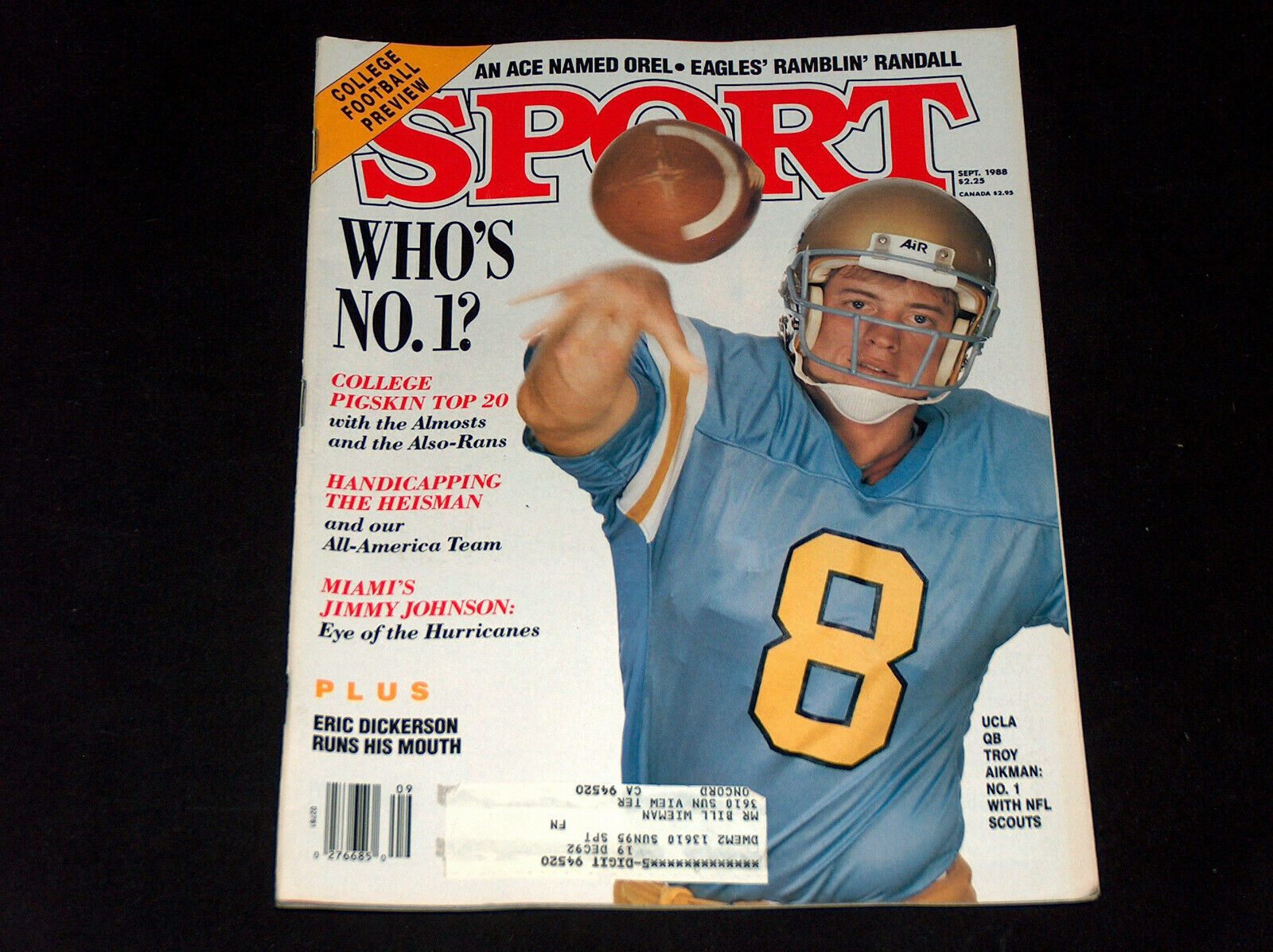 Primary image for Sport Revue Septembre 1988 Ucla's Troy Aikman Dallas Cowboy's, Jimmy Johnson