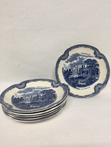 Johnson Brothers OLD BRITAIN CASTLES BLUE ENGLAND 6 Piece Saucer Flat Cup - $42.08