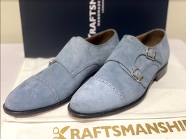 Handmade Men's Gray Suede Double Buckle Strap Dress/Formal Shoes image 5