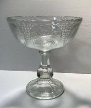 Antique Swedish pressed glass compote pedestal, flower medallion pattern... - $99.95