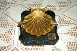 CHIC RARE VINTAGE FILIGREE METAL CLAM SHELL PEARL ASHTRAY SPAIN SHABBY - $23.74