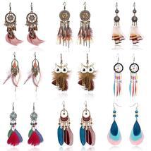 Tassel Dangle Long Earrings For Women Owl Leaf feather earrings Brincos ... - $5.00+