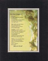Touching and Heartfelt Poem for Daughters - My Dear Daughter Poem on 11 x 14 Dou - $15.79