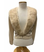 1950's Vintage Hadley Cashmere Sweater Removable Mink Collar Cream Bombs... - $82.79